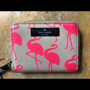 Auth Kate Spade Flamingo Wallet Card Holder GUC